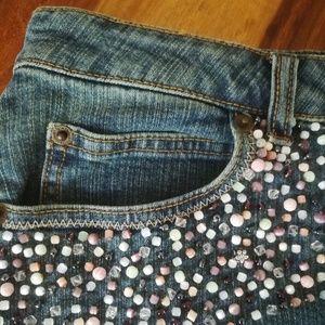 Beaded Denim Skirt